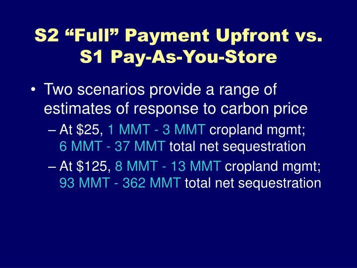 """S2 """"Full"""" Payment Upfront vs."""