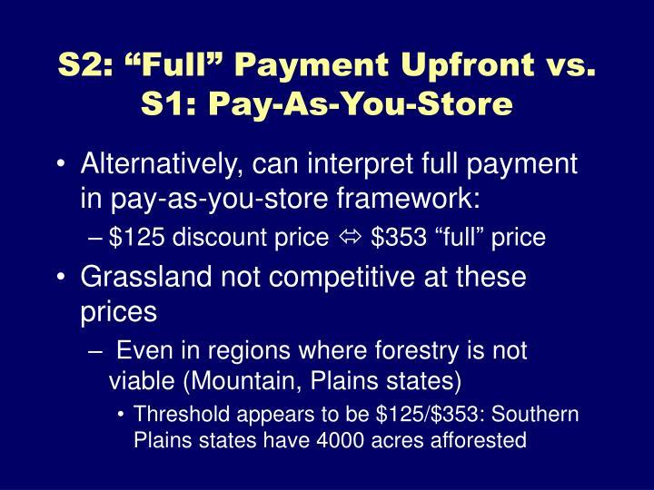 """S2: """"Full"""" Payment Upfront vs."""