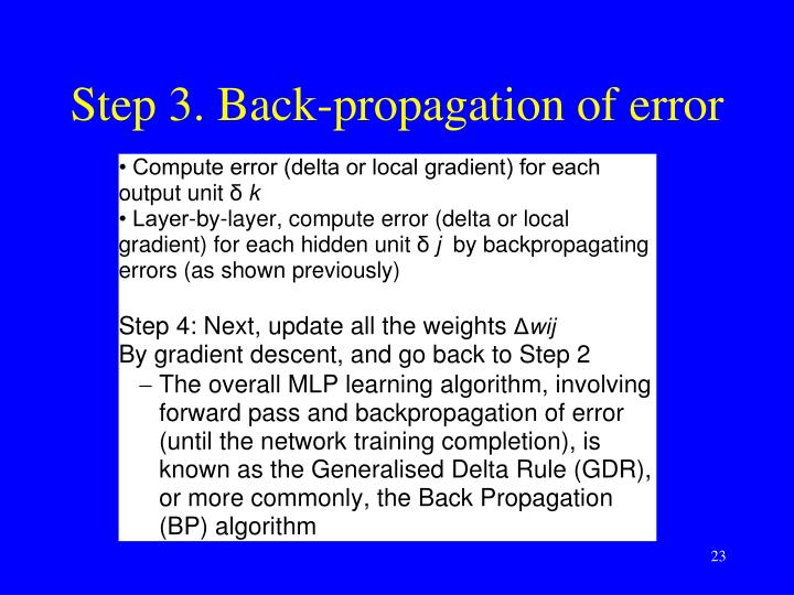 Step 3. Back-propagation of error