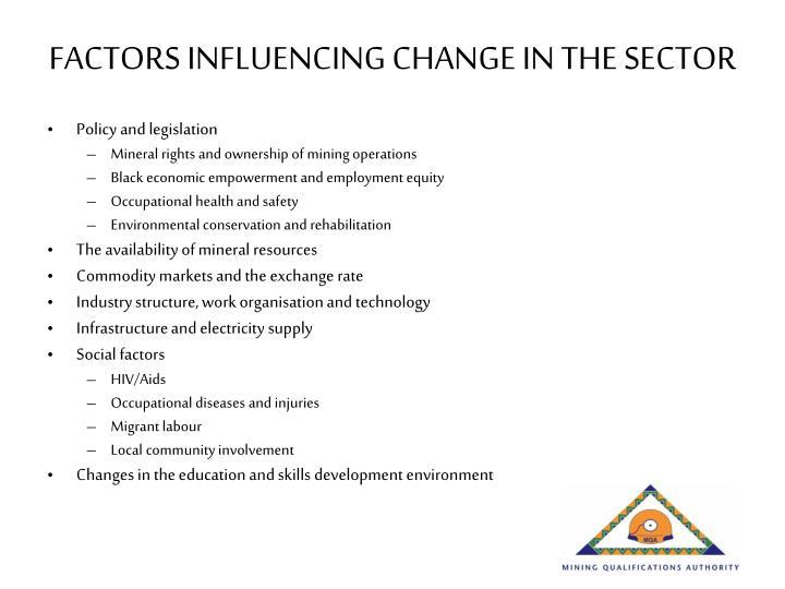 FACTORS INFLUENCING CHANGE IN THE SECTOR