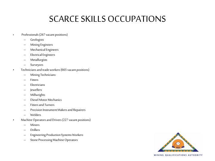 SCARCE SKILLS OCCUPATIONS