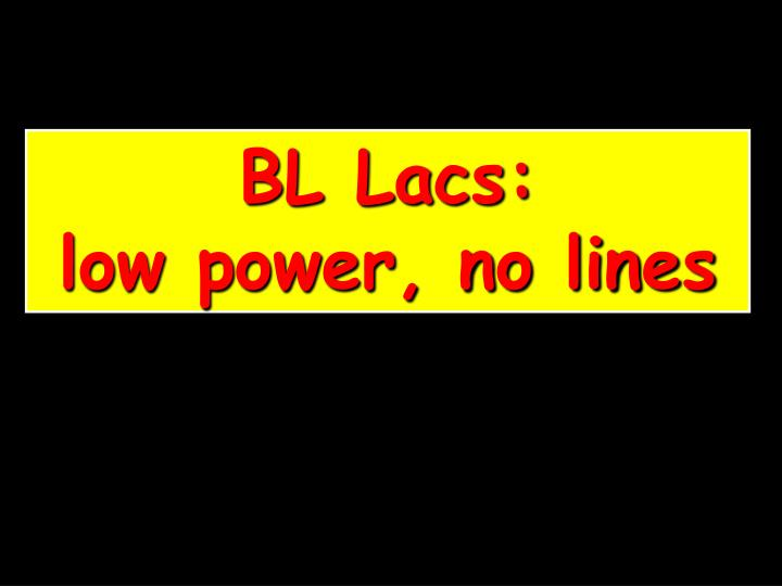 BL Lacs:           low power, no lines