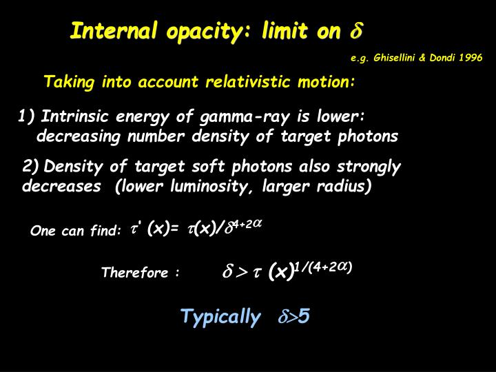 Internal opacity: limit on