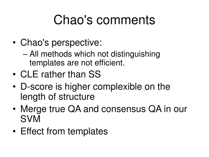Chao's comments