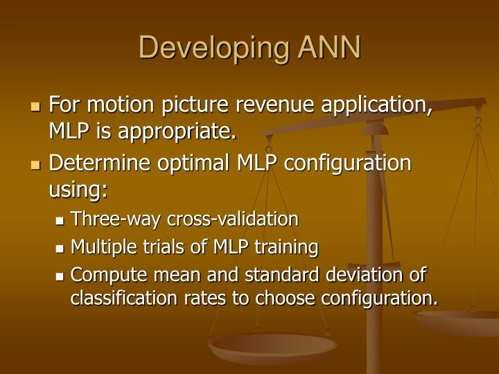 Developing ANN