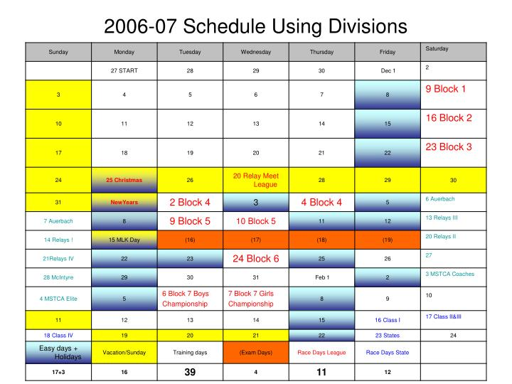 2006-07 Schedule Using Divisions