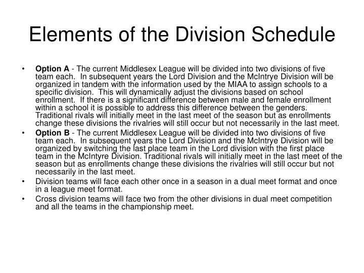 Elements of the division schedule