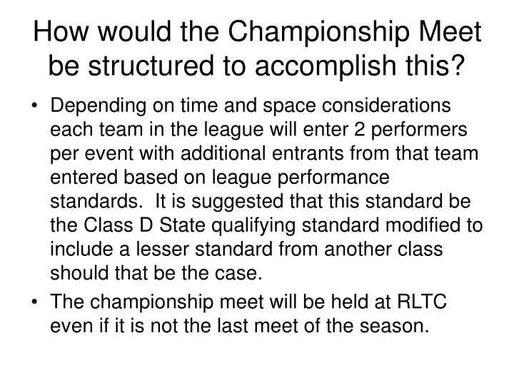 How would the Championship Meet be structured to accomplish this?