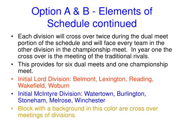 Option A & B - Elements of Schedule continued