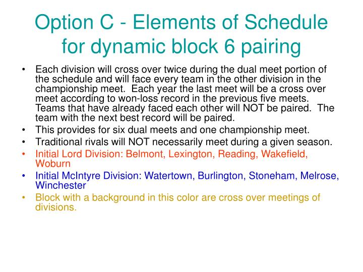 Option C - Elements of Schedule for dynamic block 6 pairing