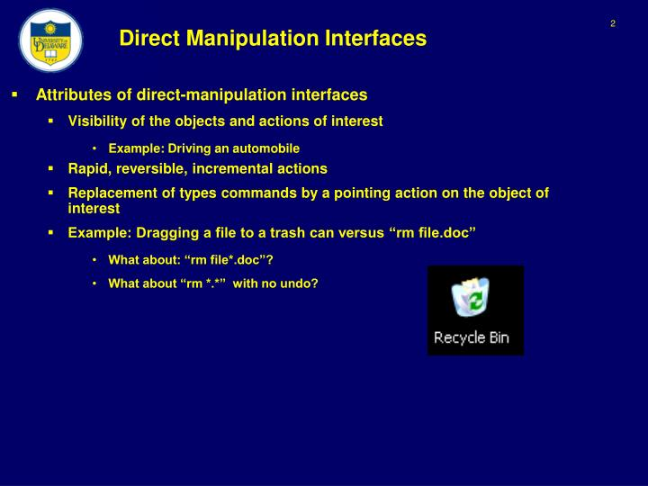 Direct manipulation interfaces1