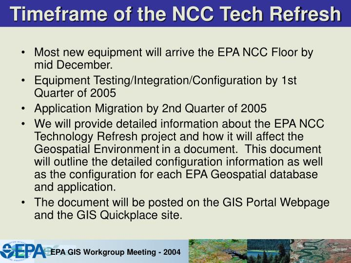 Timeframe of the NCC Tech Refresh