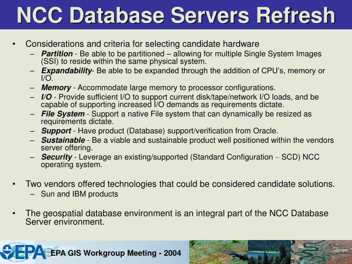NCC Database Servers Refresh