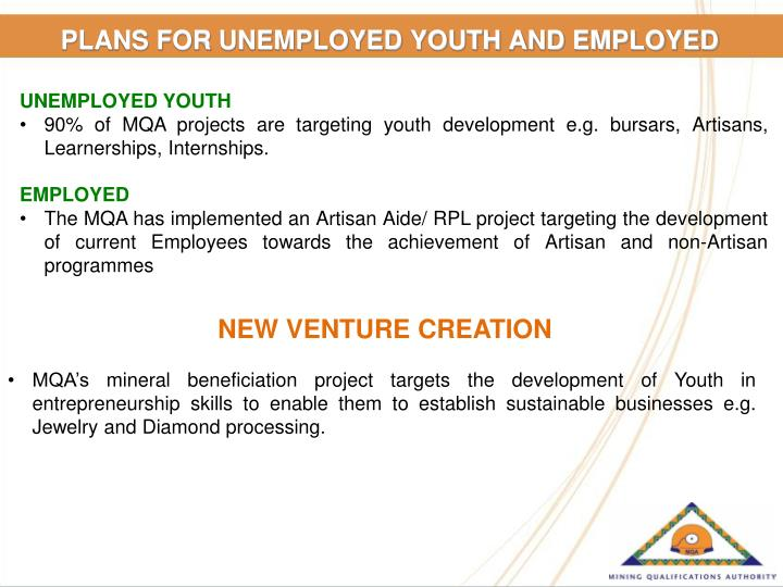 PLANS FOR UNEMPLOYED YOUTH AND EMPLOYED