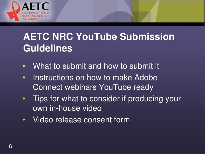 AETC NRC YouTube Submission Guidelines