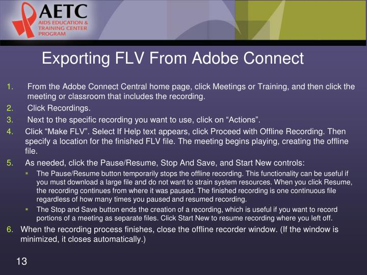 Exporting FLV From Adobe Connect