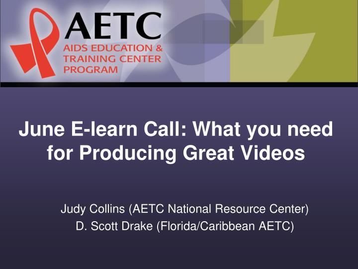 June E-learn Call