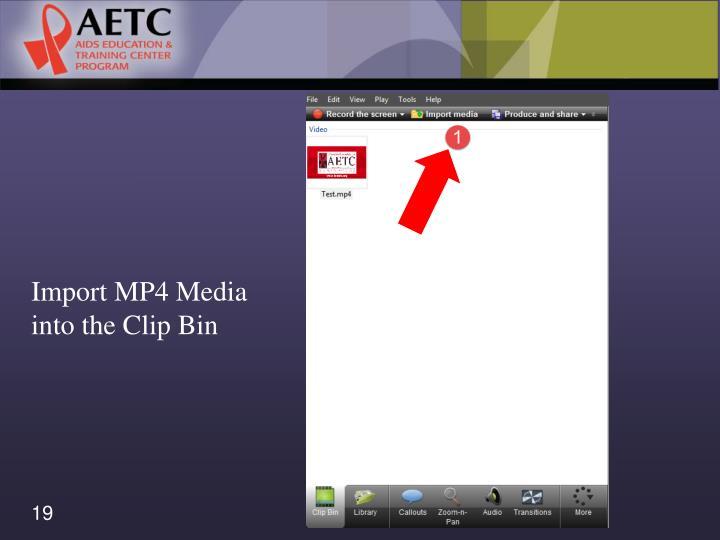 Import MP4 Media into the Clip Bin