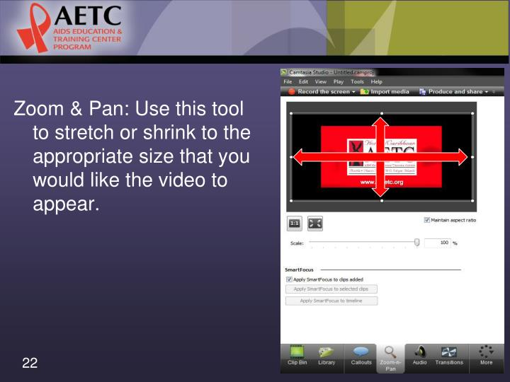 Zoom & Pan: Use this tool to stretch or shrink to the appropriate size that you would like the video to appear.