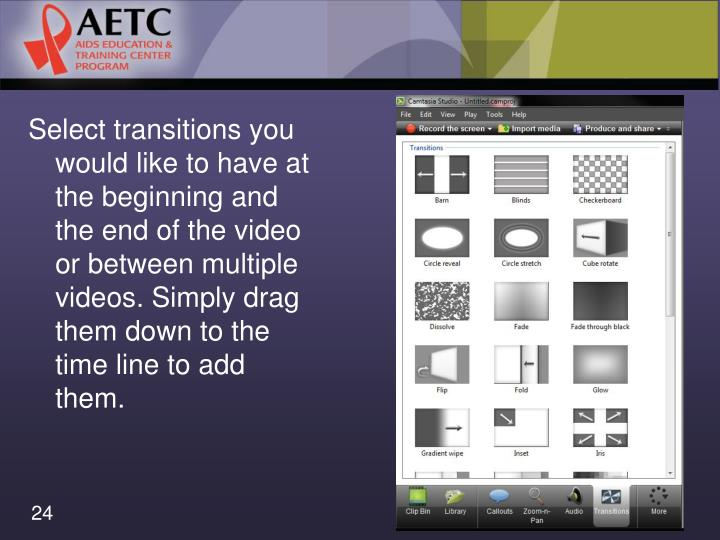 Select transitions you would like to have at the beginning and the end of the video or between multiple videos. Simply drag them down to the time line to add them.
