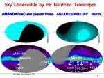 sky observable by he neutrino telescopes