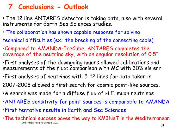 7. Conclusions - Outlook