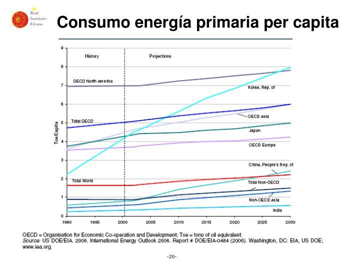 Consumo energía primaria per capita