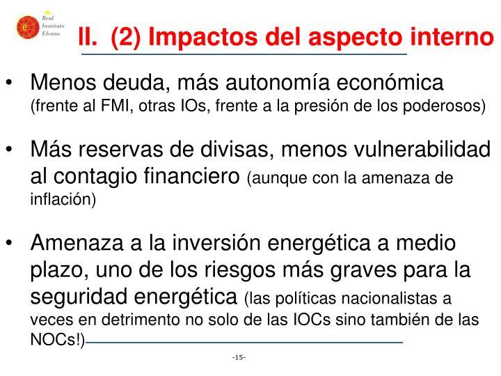 (2) Impactos del aspecto interno