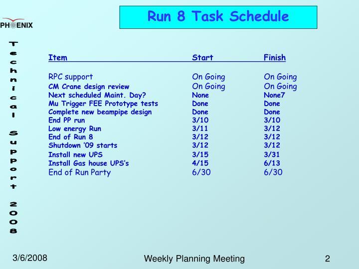Run 8 Task Schedule