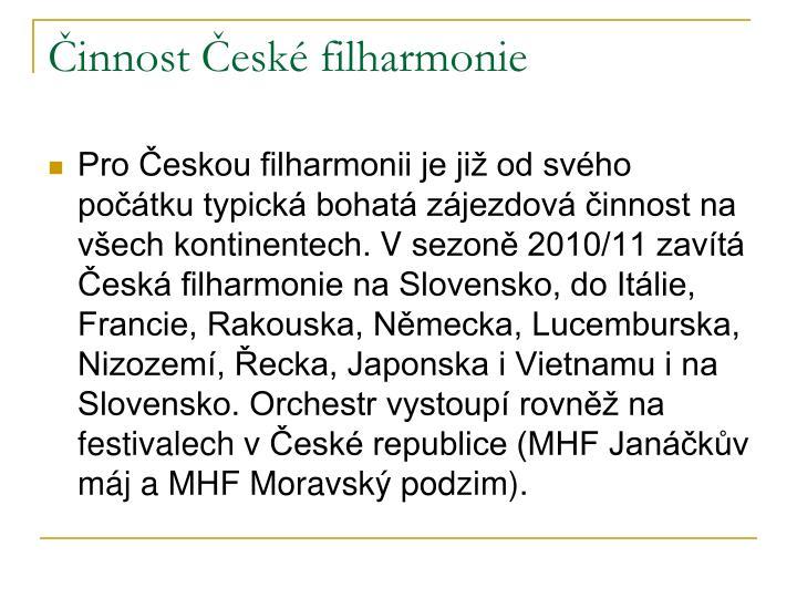 Činnost České filharmonie