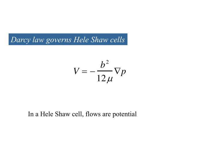 Darcy law governs Hele Shaw cells