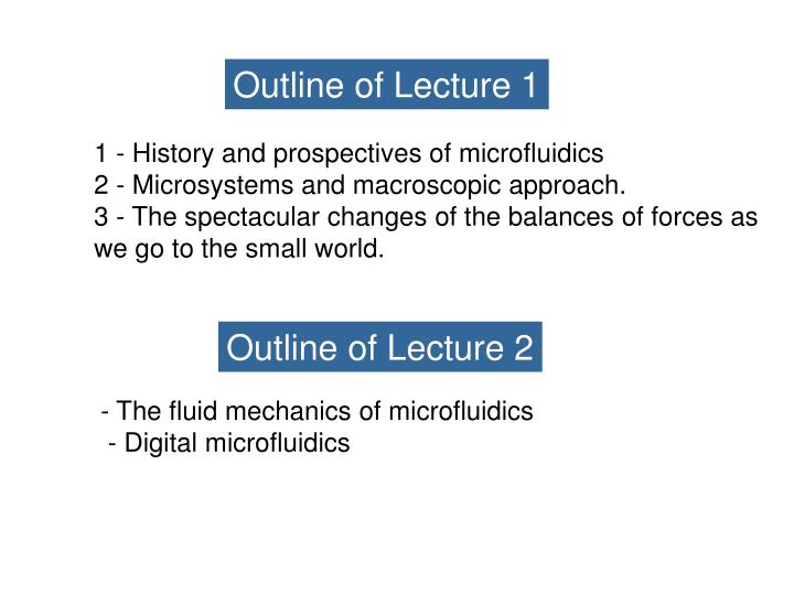 Outline of Lecture 1
