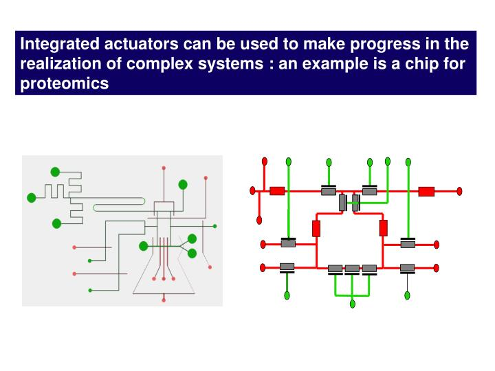 Integrated actuators can be used to make progress in the realization of complex systems : an example is a chip for proteomics