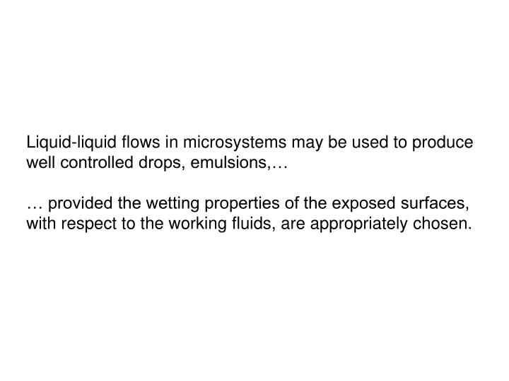 Liquid-liquid flows in microsystems may be used to produce