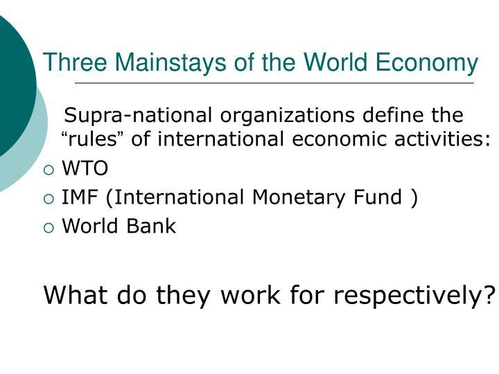 Three Mainstays of the World Economy