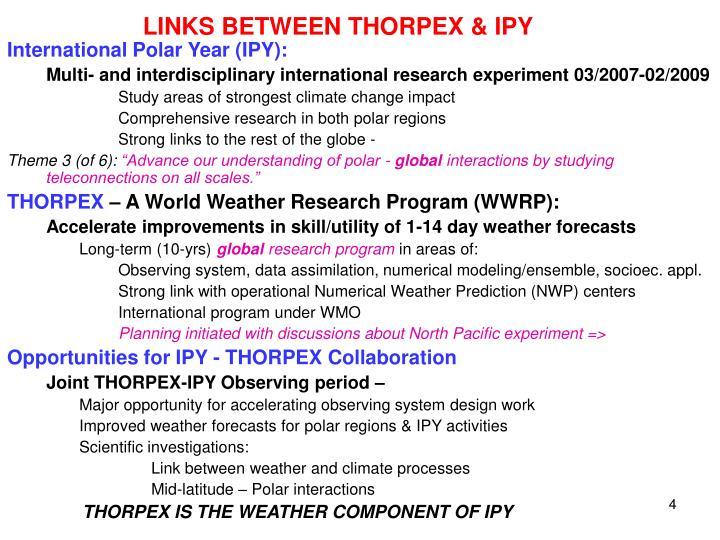 LINKS BETWEEN THORPEX & IPY