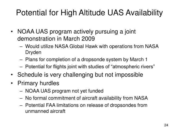 Potential for High Altitude UAS Availability