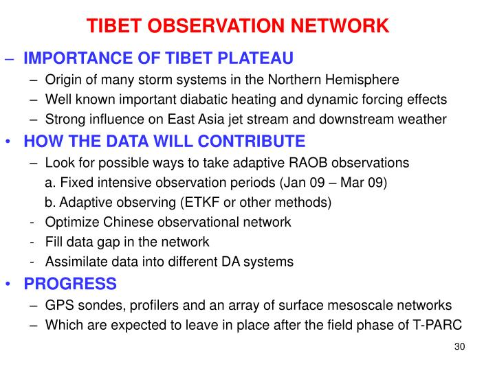 TIBET OBSERVATION NETWORK