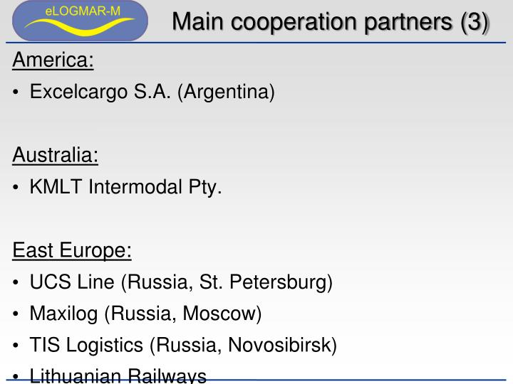 Main cooperation partners (3)