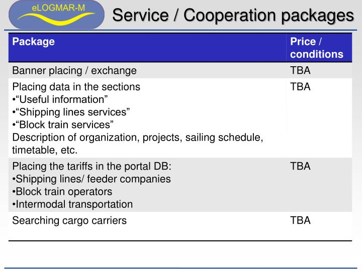 Service / Cooperation packages