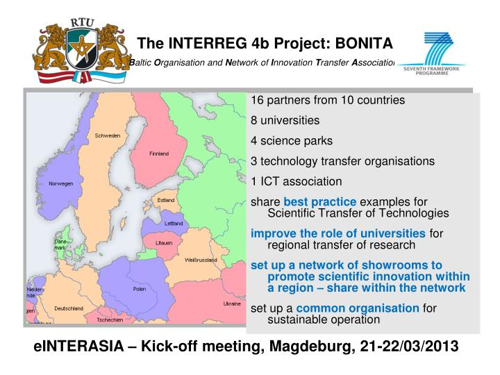 The INTERREG 4b Project: BONITA