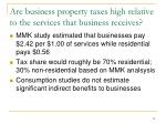 are business property taxes high relative to the services that business receives