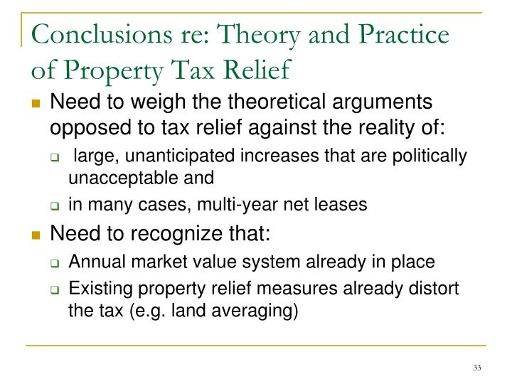 Conclusions re: Theory and Practice of Property Tax Relief