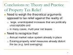 conclusions re theory and practice of property tax relief