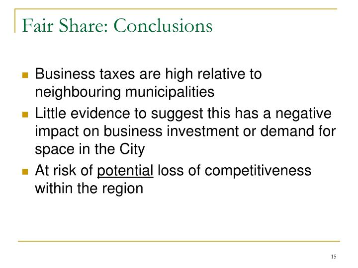 Fair Share: Conclusions