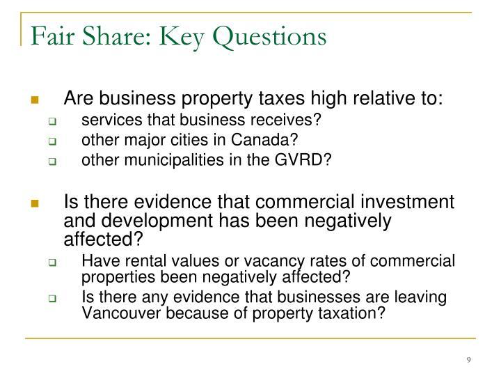 Fair Share: Key Questions