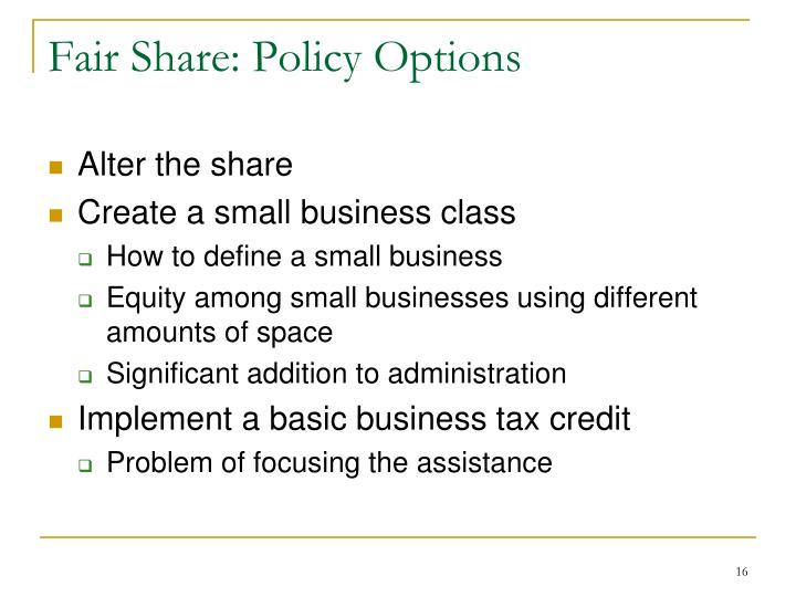 Fair Share: Policy Options