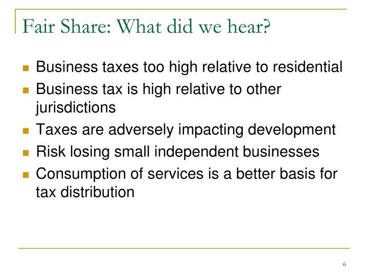 Fair Share: What did we hear?