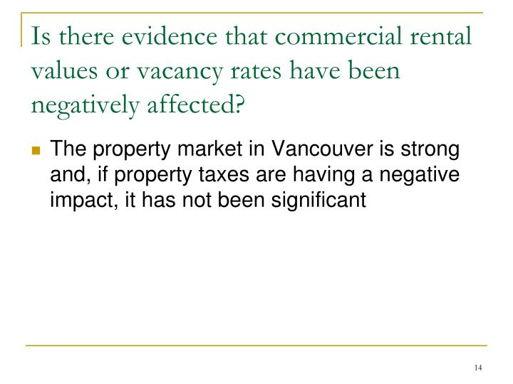 Is there evidence that commercial rental values or vacancy rates have been negatively affected?