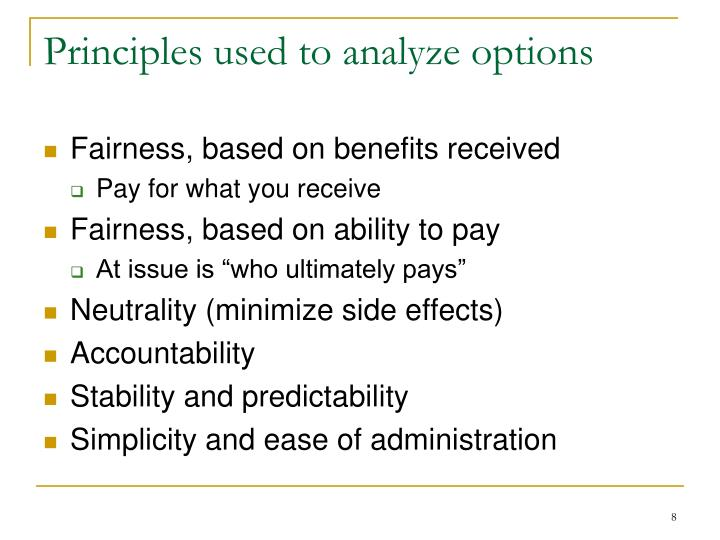 Principles used to analyze options